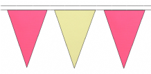 PINK AND BEIGE TRIANGULAR BUNTING - 10m / 20m / 50m LENGTHS